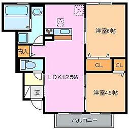 クレール東松阪II[1階]の間取り