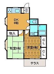 東林間アパート[1階]の間取り