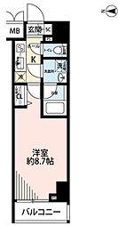 東京メトロ千代田線 湯島駅 徒歩1分の賃貸マンション 9階1Kの間取り