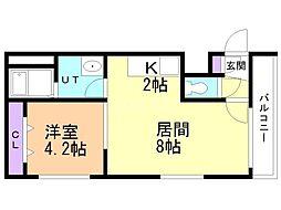 Steady State Asabu 3階1LDKの間取り