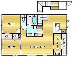 プレジール A棟[2階]の間取り