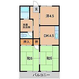 グリーンハイツ細川B棟 3階3DKの間取り