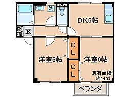 京都府城陽市平川浜道裏の賃貸アパートの間取り