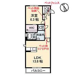 広島電鉄9系統 白島駅 徒歩8分の賃貸アパート 2階1LDKの間取り