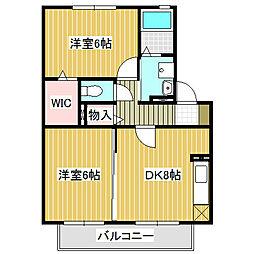 愛知県名古屋市中川区元中野町3丁目の賃貸アパートの間取り