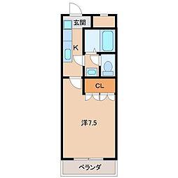 南海高野線 御幸辻駅 徒歩6分の賃貸アパート 2階1Kの間取り