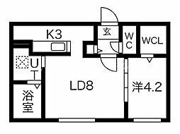 仮)北15東7MS 1階1LDKの間取り