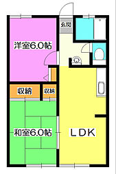 埼玉県狭山市祇園の賃貸アパートの間取り