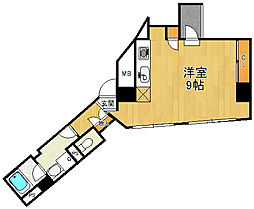 ラウレア 2階ワンルームの間取り