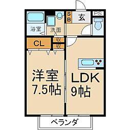 大阪府枚方市香里園桜木町の賃貸アパートの間取り