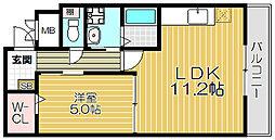 Osaka Metro谷町線 大日駅 徒歩20分の賃貸マンション 1階1LDKの間取り