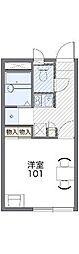 JR赤穂線 西大寺駅 徒歩30分の賃貸アパート 1階1Kの間取り