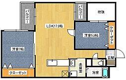 福岡県北九州市八幡西区中須1丁目の賃貸マンションの間取り
