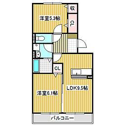 愛知県名古屋市中川区供米田3丁目の賃貸アパートの間取り