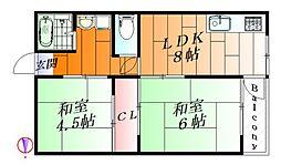 大阪府箕面市稲3丁目の賃貸アパートの間取り