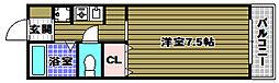 セゾンアビデ 2階1Kの間取り