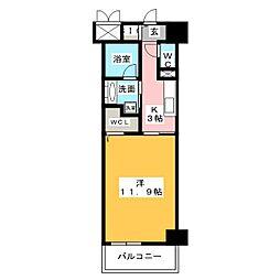 ベルオレイル 5階1Kの間取り