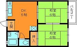 奈良県生駒郡平群町西宮2丁目の賃貸アパートの間取り