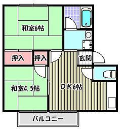 ハイツリベール B棟[2階]の間取り