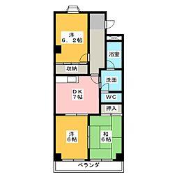ハイツ・エスポアール[4階]の間取り