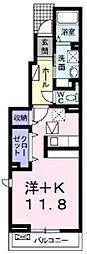 愛知県知立市八ツ田町門前の賃貸アパートの間取り