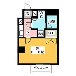 プレール・ドゥーク西新井 8階1Kの間取り