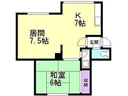 一棟三戸(5−1)/浦西邸 2階1LDKの間取り