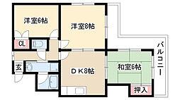 愛知県名古屋市緑区相川1丁目の賃貸マンションの間取り