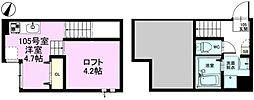 RIZEST東浦和II 1階ワンルームの間取り