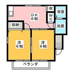 メゾンシャルムA[2階]の間取り