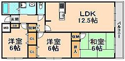 兵庫県伊丹市南野4丁目の賃貸マンションの間取り