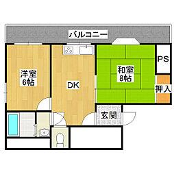 三友ハイツ 2号館[4階]の間取り
