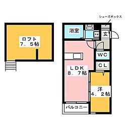 西鉄天神大牟田線 西鉄二日市駅 徒歩6分の賃貸アパート 2階1LDKの間取り