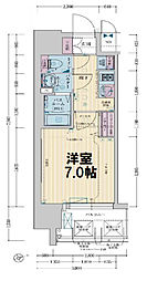 レシオス大阪城公園 11階1Kの間取り