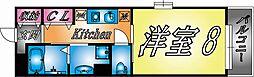 阪神本線 新在家駅 徒歩3分の賃貸マンション 6階1Kの間取り