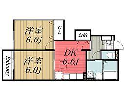 千葉県佐倉市上志津原の賃貸アパートの間取り