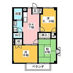 ドリーミーコープT B棟[1階]の間取り