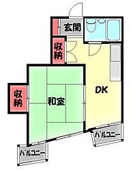 ハイムホープフル 4階1DKの間取り