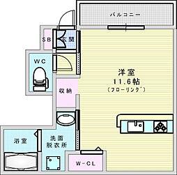 Osaka Metro御堂筋線 江坂駅 徒歩17分の賃貸アパート 1階ワンルームの間取り