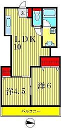 タウンハイツ2号棟[2階]の間取り
