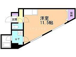 第6松屋ビル 4階ワンルームの間取り