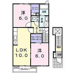 福岡県北九州市門司区大字大積の賃貸アパートの間取り