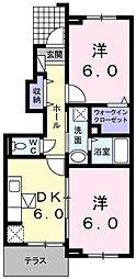 南海高野線 北野田駅 徒歩27分の賃貸アパート 1階2DKの間取り
