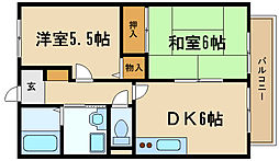 兵庫県伊丹市鈴原町3丁目の賃貸アパートの間取り