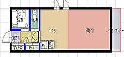 サンバティーク 1階1DKの間取り