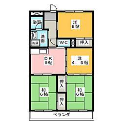 愛知県名古屋市名東区亀の井3丁目の賃貸マンションの間取り