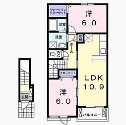 千葉県印旛郡栄町安食の賃貸アパートの間取り