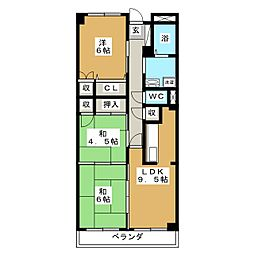 ディライト西多賀[3階]の間取り