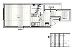 広島電鉄宮島線 佐伯区役所前駅 徒歩7分の賃貸アパート 3階1Kの間取り