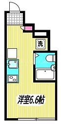 JR中央本線 三鷹駅 徒歩7分の賃貸アパート 1階ワンルームの間取り